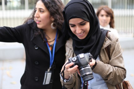 UNDPI Media Trainees, Malak & Shireen practice photography skills.