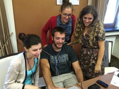 Documentary production team hard at work. Sarajevo.