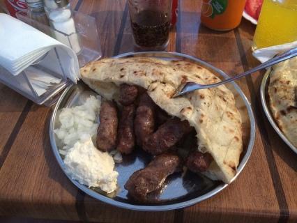 Ćevapi-- sausage and bread. Sarajevo