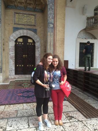 Digital storytellers at mosque in the old city-- Bascarsija. Sarajevo.